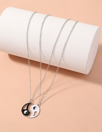 Fashion White K Tai Chi Eight Diagrams Yin Yang Couple Multilayer Necklace