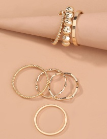 Fashion Gold Color Geometric Wave Hollow Round Ring Set