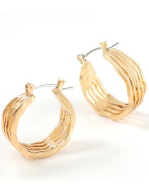 Fashion Gold Color Alloy Notch Round Hollow Textured Earrings