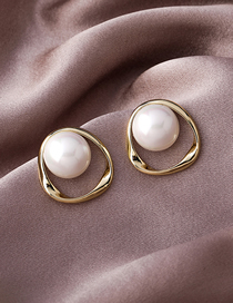Fashion Gold Color Pearl Geometric Alloy Earrings
