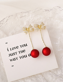 Fashion Red Bowknot Pearl And Diamond Geometric Earrings