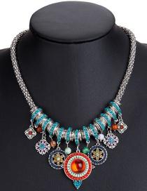 Fashion 7677 Silver Color Alloy Diamond Flower Hollow Geometric Necklace