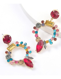 Fashion Red Color Round Alloy Diamond Acrylic Earrings