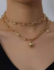 Fashion Gold Color Alloy Lock Ball Pendant Double-layer Bamboo Chain Necklace