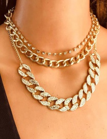 Fashion Gold Color Alloy Diamond Thick Chain Multilayer Necklace