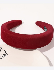 Fashion Wine Red Fabric Sponge Solid Color Wide-brimmed Headband