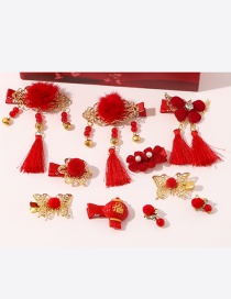 Fashion Red A Pearl Flower Butterfly Geometric Shape Childrens Hairpin Earrings Gift Set
