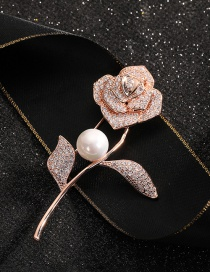 Fashion Rose Gold Gold-plated Copper Brooch With Pearl And Diamond Flowers