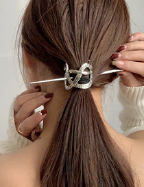 Fashion Silver Color Snake-shaped Letter Cross Hollow Alloy Hairpin