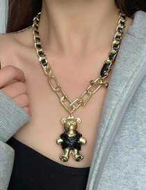 Fashion Gold Color Thick Chain Leather Stitching Bear Pendant Necklace
