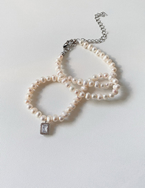 Fashion Cube Pendant-pearl Diamond Natural Rice Pearl Geometric Necklace