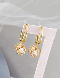 Fashion Gold Color Hollow Flower Diamond Alloy Earrings