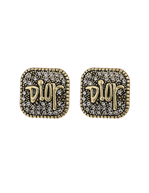 Fashion Golden Copper Inlaid Zircon Square Letter Earrings