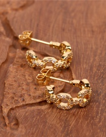 Fashion Golden Gold-plated Copper Geometric Earrings With Diamond Chain Buckle