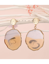 Fashion Yellow Oval Shaped Agate Piece Handmade Resin Earrings