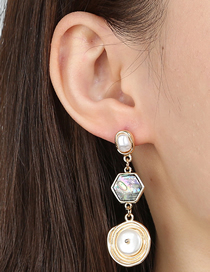 Fashion Golden Geometric Baroque Pearl Abalone Alloy Earrings