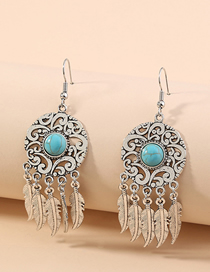 Fashion Silver Hollow Carved Long Dream Catcher Feather Tassel Pendant Earrings
