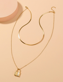 Fashion Golden Gold Chain Lock Pendant Geometric Multilayer Necklace