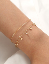 Fashion Golden Five-pointed Star Micro-inlaid Zircon Tassel Double-layer Bracelet
