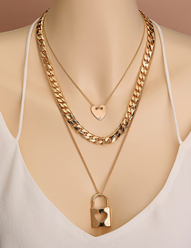 Fashion Golden Chain Peach Heart Geometric Lock Shape Pendant Multilayer Necklace