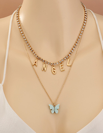 Fashion Golden Double Layer Necklace With Diamond Letter Butterfly Pendant