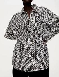 Fashion Black Textured Single-breasted Loose Shirt Jacket