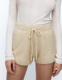 Fashion Beige Belted Wool Knit Shorts