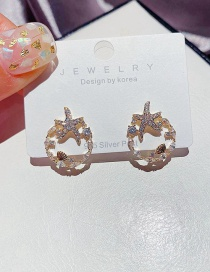 Fashion Golden Shell Circle Starfish Real Gold Plated Zircon Earrings