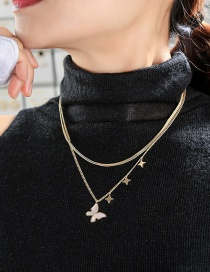 Fashion Golden Butterfly Gold-plated Hollow Double Necklace