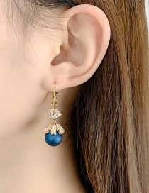 Fashion Matte Blue Diamond Circle Flower Gold Plated Earrings
