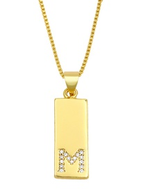 Fashion M Gold Geometric Rectangle Letter Necklace With Diamonds