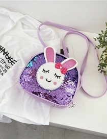 Fashion Purple Sequined Bunny Childrens Crossbody Shoulder Bag