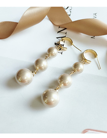 Fashion Champagne Long Pearl Geometric Alloy Earrings