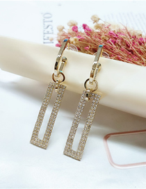 Fashion Yellow Diamond Long Geometric Pendant Earrings