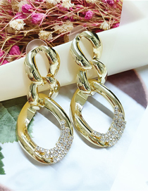 Fashion Yellow Alloy Diamond Geometric Earrings