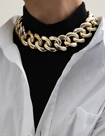 Fashion Necklace Gold Tassels Generous Rhombus Thick Chain Necklace Earrings
