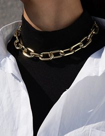 Fashion Necklace Gold Single Layer Geometric Thick Chain Necklace Earrings