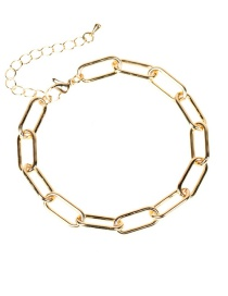 Fashion Golden Copper Vacuum Plating Thick Chain Geometric Bracelet