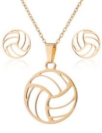 Fashion Gold Stainless Steel Volleyball Earrings Necklace Set