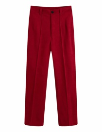 Fashion Red Wine Straight Micro-pleated Buttoned Trousers