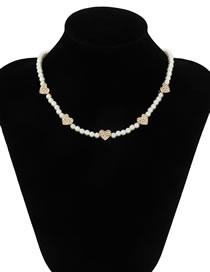 Fashion Gold Color Pearl Woven Rhinestone Love Stitching Necklace