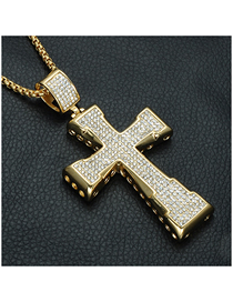 Fashion Gold (with Picture Chain) Stainless Steel Full Diamond Cross Necklace