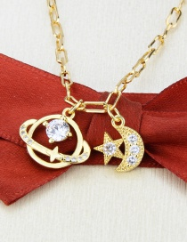 Fashion Gilded Gold-plated Zircon Planet Pendant Necklace