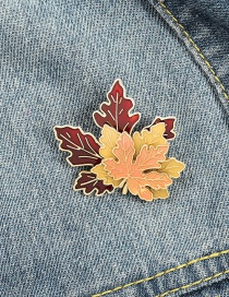 Fashion Golden Geometric Maple Leaf Oil Drop Alloy Brooch