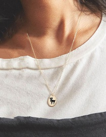 Fashion Golden Aries Stainless Steel Zodiac Pendant Oval Necklace