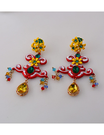 Fashion A Flower Cross Flower Crystal And Diamond Earrings