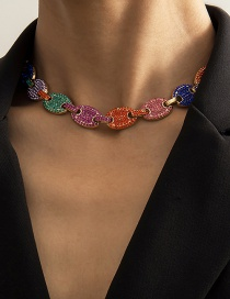 Fashion Gold Melange Adjustable Necklace With Micro Diamond Cuban Chain