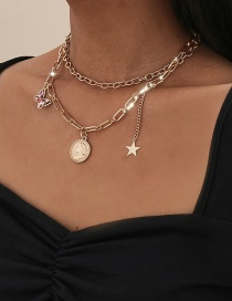 Fashion Golden Portrait Hollow Butterfly Star Pendant Multilayer Necklace