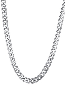 Fashion Steel Color 7mm40cm Stainless Steel Milled Six-sided Cuban Chain Thick Chain Necklace