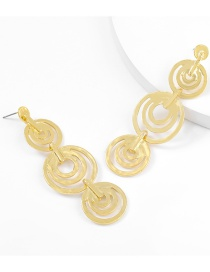 Fashion Gold Color Alloy Multilayer Round Hollow Earrings